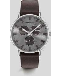 Kenneth Cole - Brown Leather Round Multi-function Watch - Lyst