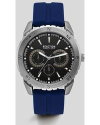 Kenneth Cole Reaction - Blue Silver-tone Silicon Watch - Lyst