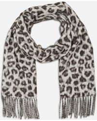 Kenneth Cole - Muted Animal Print Fringed Scarf In Cashmink - Lyst