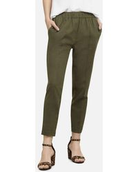 Kenneth Cole Cropped Pull-on Linen Pant - Green