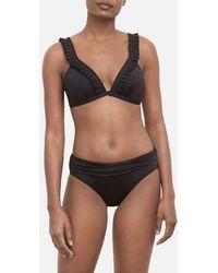 b5306a535b902 Calvin Klein Pleated High-waist Bikini Bottoms in Black - Lyst