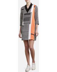 Kenneth Cole - V-neck Ribbed Dress - Lyst