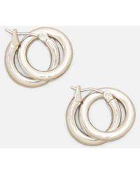 Kenneth Cole - Double Hoop Silver-tone Earring - Lyst