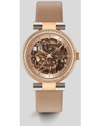 Kenneth Cole - Brown Leather Automatic Skeleton Watch - Lyst