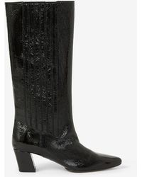KENZO K-line Soft Heeled Leather Boots - Black