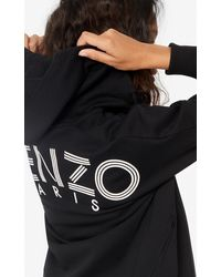KENZO Logo Zipped Hooded Sweatshirt - Black
