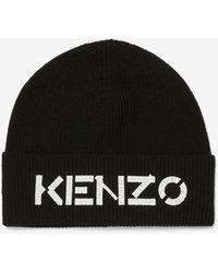 KENZO Logo Knit Beanie - Black