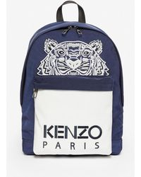 KENZO Sac a dos contraste bleu marine et blanc Large Tiger edition limitee