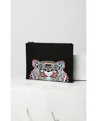 KENZO Pochette A4 Canvas Tigre - Noir