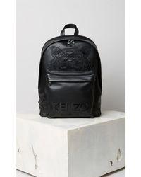 KENZO Tiger Leather Backpack - Black