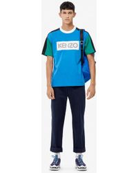 KENZO T-shirt colorblock logo - Bleu