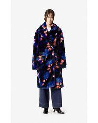 KENZO Oversized Floral Coat - Blue