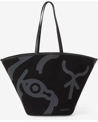 KENZO Large Arc Canvas Tote Bag - Black