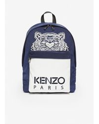 KENZO - Sac a dos contraste bleu marine et blanc Large Tiger edition limitee - Lyst