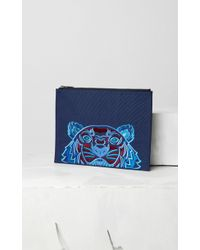 137d139c KENZO A4 Tiger Canvas Clutch in Gray - Lyst