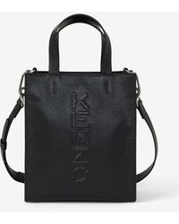 KENZO Imprint Small Grained Leather Tote Bag - Black