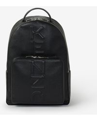 KENZO Grained Leather Backpack - Black