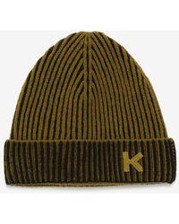 KENZO Rippstrickmütze K-Logo - Grün