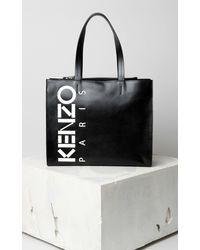 KENZO Logo Print Tote - Black