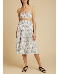 Khaite Sylvia Pleated Floral Cotton Skirt - Multicolor