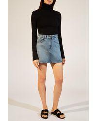 9e2d9afae0 ASOS Denim Dolly A-line Button Through Mini Skirt In White With Raw ...