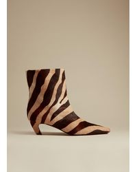 Khaite Zebra-print Calf Hair Ankle Boots - Brown