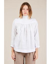 Horses Atelier High Collar Blouse - White