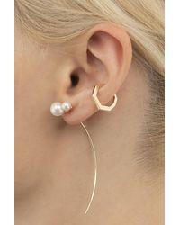 Hirotaka Double Akoya Pearl Arrow Earring - Natural