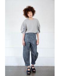 Tibi Chalky Drape Pleat Sleeve Top - Gray