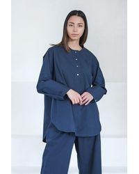 Studio Nicholson Oyodo Collarless Shirt - Blue