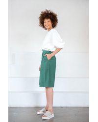 Tibi Chalky Drape Pleat Sleeve Top - White