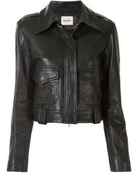 Khaite Cordelia Cropped Moto Leather Jacket - Black
