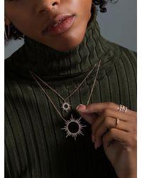 Anne Sisteron Rose Gold Diamond Open Sunburst Necklace - Metallic