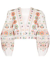 Zimmermann - Brighton Embroidered Cropped Top - Lyst