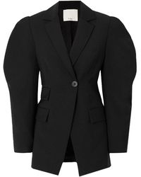 Tibi Tropical Wool Cutout Sleeve Blazer - Black