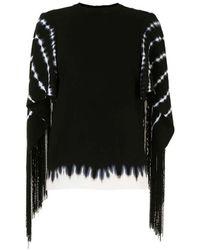 Proenza Schouler Tie Dye Top With Fringe Sleeve - Black
