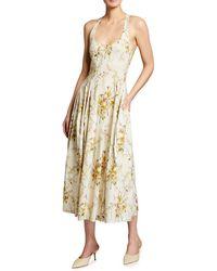 Brock Collection Floral Print Cotton Midi Dress - Multicolour