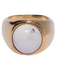 Adam Lippes - Gold Round Signet Ring With Semi-precious Cabachon - Lyst