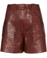 Ganni High Waisted Leather Shorts - Multicolor