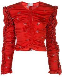 Magda Butrym Konya Ruched Ruffle Blouse - Red