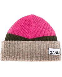 Ganni Striped Wool-blend Beanie - Pink