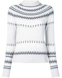 Adam Lippes Crew Neck Fairisle Print Cashmere Sweater - Blue
