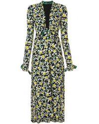 Proenza Schouler V Neck Wildflower Print Crepe Dress - Black