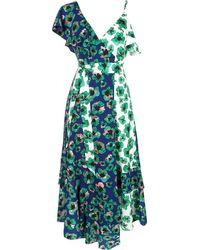 Borgo De Nor Leone One-shoulder Floral Midi Dress - Blue