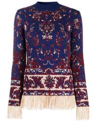 Paco Rabanne Longsleeve Tapestry Fringe Hem Top - Blue