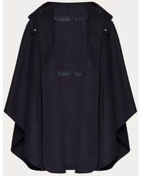 Valentino Leather Double Strap Hooded Cashmere Cape - Black