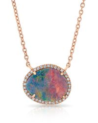 Anne Sisteron Rose Gold Opal Diamond Necklace - Green