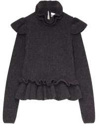 Ganni Long Sleeve Frill Detail Crop Ribbed Knit Sweater - Black