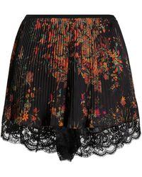 Paco Rabanne Pleated Lace Trim Shorts - Black