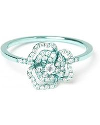 AS29 - Pave Diamond Flower Cutout Ring - Lyst